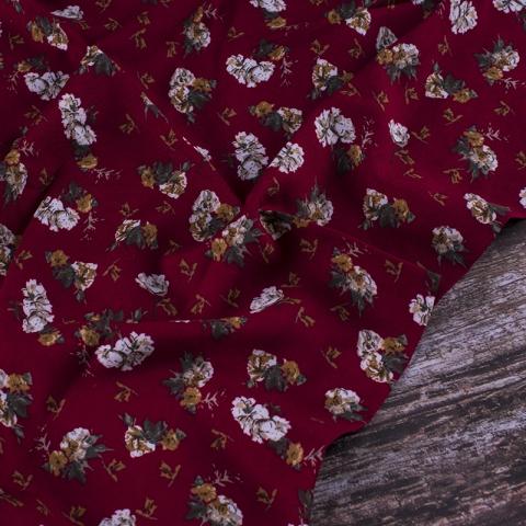 Ткань на отрез штапель 145 см 20016 Цветы на бордовом