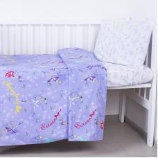 Постельное белье в детскую кроватку из поплина 10943/1 Балерина  с простыней на резинке