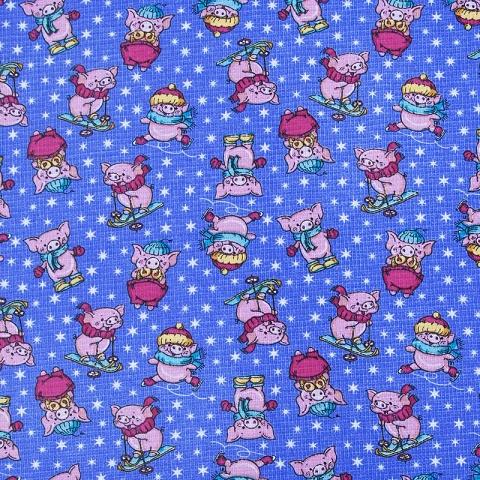 Ткань на отрез вафельное полотно набивное 150 см 1057/1 Веселая прогулка цвет голубой