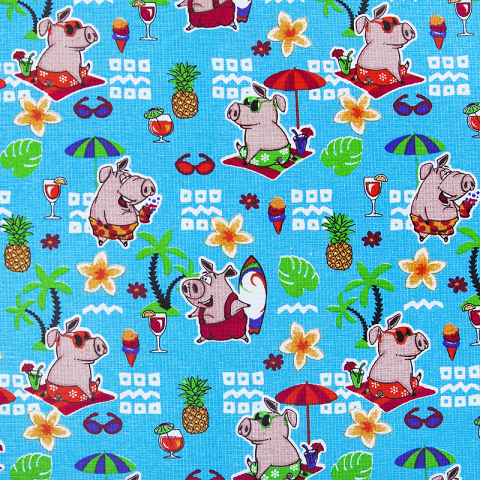 Ткань на отрез вафельное полотно набивное 150 см 7706/1 Свинки на пляже цвет голубой