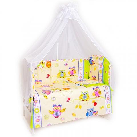 Набор в кроватку 4 предмета с оборками Совы
