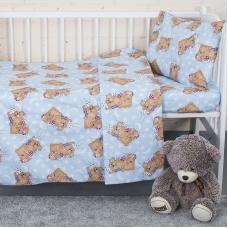 Постельное белье в детскую кроватку 1286/3 Соня голубой с простыней на резинке