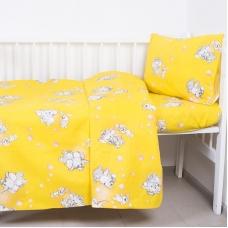 Постельное белье в детскую кроватку 1285/5 Мамонтенок желтый с простыней на резинке
