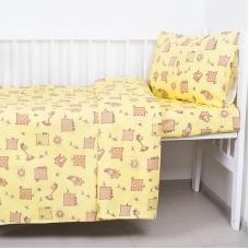 Постельное белье в детскую кроватку из бязи 366/4 Жирафики желтый с простыней на резинке