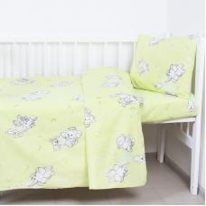 Постельное белье в детскую кроватку из бязи 1285/3 Мамонтенок зеленый с простыней на резинке