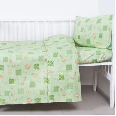 Постельное белье в детскую кроватку из бязи 366/2 Жирафики зеленый с простыней на резинке