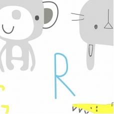 Ткань на отрез интерлок 40/1 Гребенное Буквы с животными голубой 5707-17