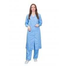 Халат для воспитателей, санитарок, рукав длинный, бязь голубая 100% хлопок, 52-54, рост 172-176