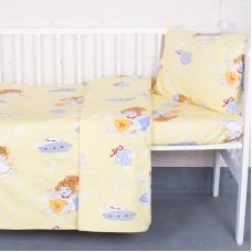 Постельное белье в детскую кроватку 92611 бязь ГОСТ с простыней на резинке