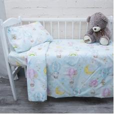 Постельное белье в детскую кроватку из перкаля 13324/1 с простыней на резинке 160/80/15