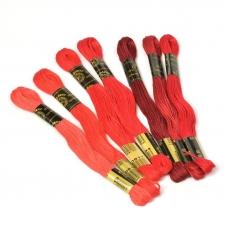 Нитки мулине Цветик-семицветик 10м ПНК набор 7 мотков 3 красный лепесток
