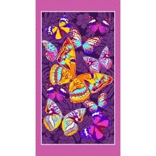 Полотенце вафельное пляжное 441/3 Бабочки цвет фиолетовый 150/75 см