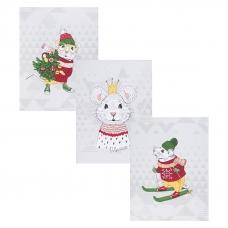 Набор вафельных полотенец 3 шт 50/60 см 3028-3 Мышиный король
