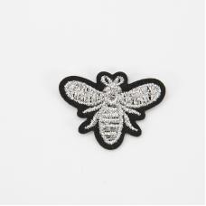 Аппликация Пчелка серебро термо 3,5*2,5см