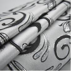 Портьерная ткань с люрексом 150 см на отрез 5222 цвет серый/серебро