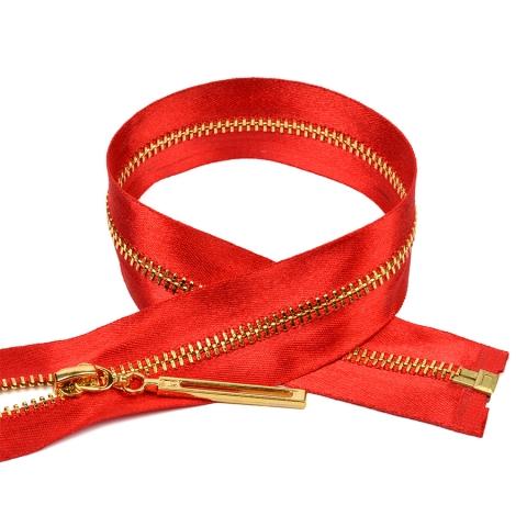 Молния мет №3 золото атласная тесьма 60 см цвет F148 красный