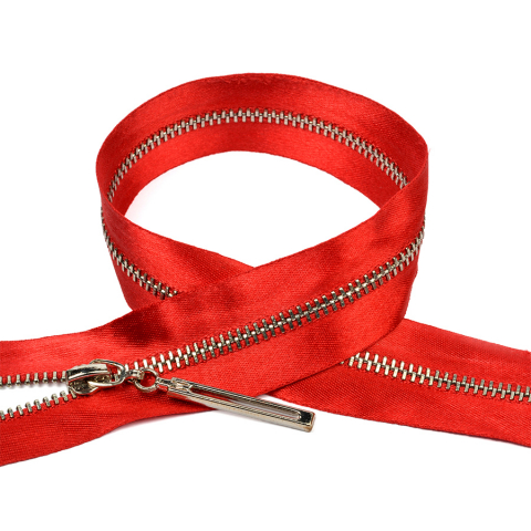 Молния мет №3 никель атласная тесьма 60 см цвет F148 красный