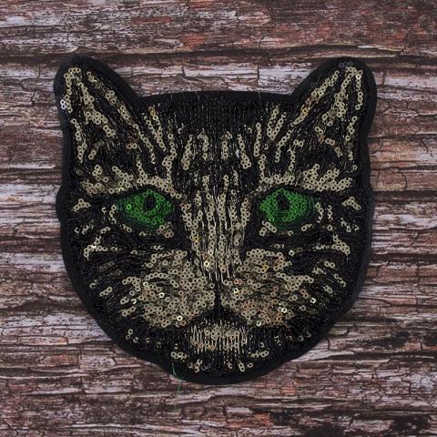 Аппликация Кошка с зелеными глазами 18*19 см