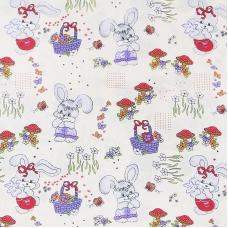 Ткань на отрез бязь ГОСТ детская 150 см 1304/1 Лесная сказка цвет бежевый
