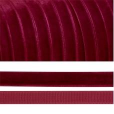 Лента бархатная 15 мм TBY LB1544 цвет бордо 1 метр