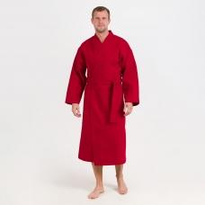 Халат мужской вафельный шалька 240 гр. ячейка 7х7 см 066 бордо р.54