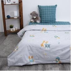 Детское постельное белье из поплина 1.5 сп Корги 3062