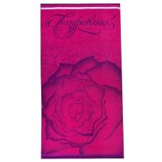 Полотенце махровое 4393 Поздравляю роза цвет малина 70/140 см