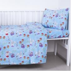 Постельное белье в детскую кроватку 1304/4 Лесная сказка голубой с простыней на резинке