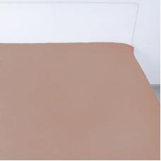 Простынь на резинке сатин цвет коричневый 140/200/20 см