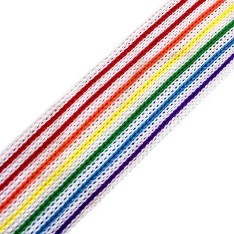 Лампасы №34 белые с разноцветными полосками 2,5см уп 10 м