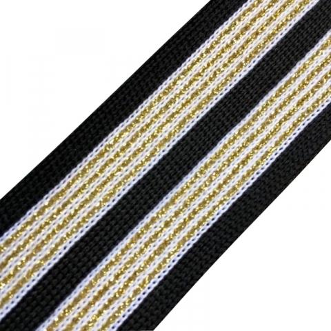 Лампасы №35 черные белые с золотым люрексом 3,5см уп 30 м