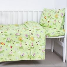 Постельное белье в детскую кроватку из бязи 317/3 Овечки зеленый ГОСТ