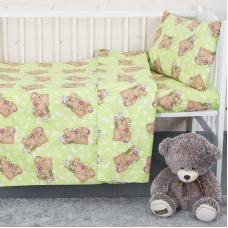 Постельное белье в детскую кроватку из бязи 1286/1 Соня зеленый ГОСТ