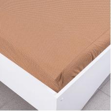 Простыня трикотажная на резинке Премиум цвет мелкий горох цвет коричневый 120/200/20 см