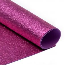 Фоамиран глиттерный 2 мм 20/30 см уп 10 шт MG.GLIT.H033 цвет ярко-розовый