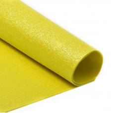 Фоамиран глиттерный 2 мм 20/30 см уп 10 шт MG.GLIT.H047 цвет желтый