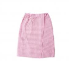 Вафельная накидка на резинке для бани и сауны Премиум женская с широкой резинкой цвет 706 розовый
