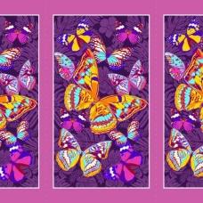 Вафельное полотно набивное 150 см 441/3 Бабочки цвет фиолетовый