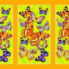 Вафельное полотно набивное 150 см 441/4 Бабочки цвет жёлтый