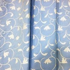 Ткань на отрез Тик 220 см 145 +/- 5 гр/м2 Вензель цвет голубой