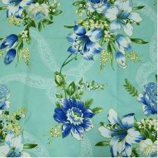 Ткань на отрез Тик 220 см 145 +/- 5 гр/м2 Цветная роза цвет бирюза 981 J