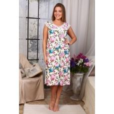 Сорочка Вишенка Вискозаголубо-Розовые Цветы А31 р 60