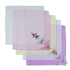 Платки носовые женские с вышивкой  28/28 см расцветки в ассортименте 10 шт