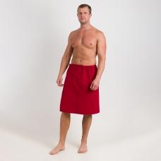 Вафельная накидка на резинке для бани и сауны Премиум мужская с широкой резинкой цвет 066 бордо