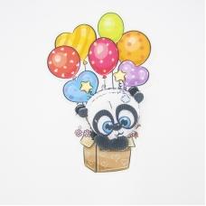 Нашивка панда в коробке с воздушными шарами 3D 13,5*20см