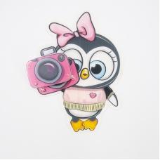 Нашивка Пингвиненок с фотоаппаратом 3D 17*14см
