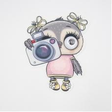 Нашивка Сова с фотоаппаратом бегающие глазки 19*16см