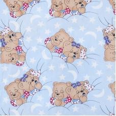 Ткань на отрез бязь ГОСТ детская 150 см 1286/3 Соня голубой