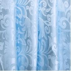 Портьерная ткань 150 см на отрез 17 цвет голубой вензель