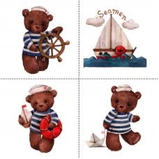Ткань на отрез перкаль детский 150/37.5 см 01 Мишка-морячок
